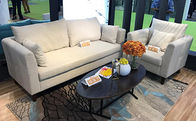 Pure Foam Filling Imitated Linen Fabric Sofa With Solid Wood Frame And Legs