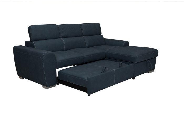 Black Wooden Frame Functional Sofa Bed Technological Fabric Cover Spring Plastic Legs