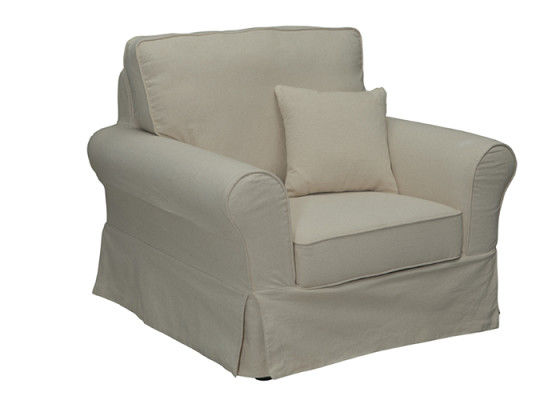 Light Color Linen Reclining Sofa / Tan Linen Sofa Simple Modern Appearance