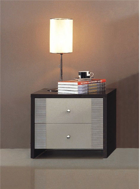 Dark Walnut Simple Home Furniture Particle Board With Paper Material Night Stand