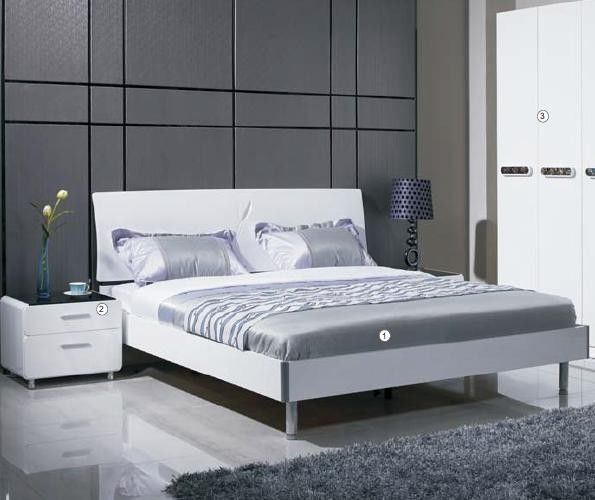 Gray White Color Home Room Furniture / Wooden Bedroom Furniture ISO Certified