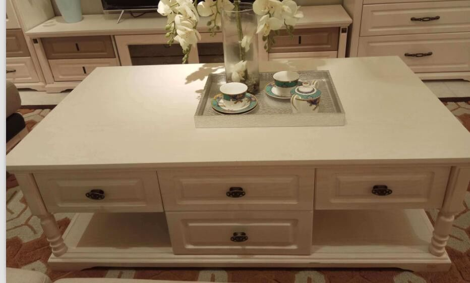 White Color 1.3m European Style Coffee Table With Melamine Four Drawers