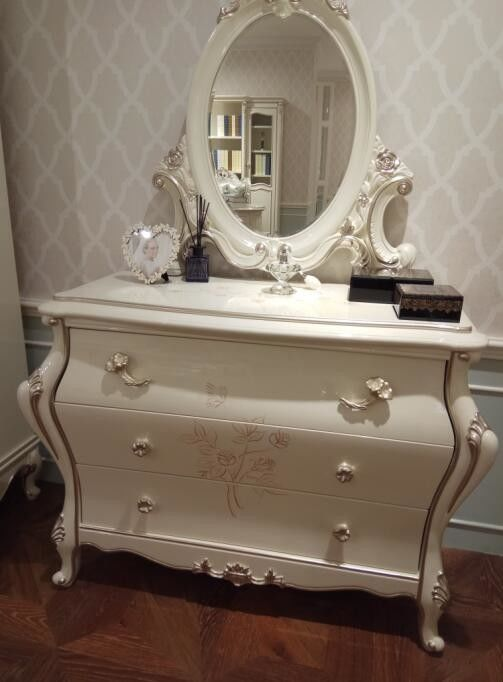 Apartment Classic French Furniture Dresser With Mirror Three Big Drawers