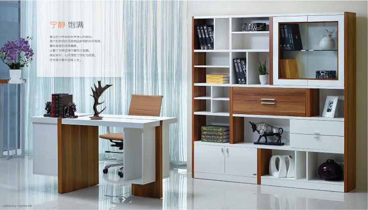 Simple Full Bedroom Furniture Sets / Melamine Bookcase With Multi - Fuction Cabinet